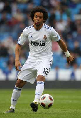 MADRID, SPAIN - APRIL 30:  Marcelo of Real Madrid in action during the La Liga match between Real Madrid and Real Zaragoza at Estadio Santiago Bernabeu on April 30, 2011 in Madrid, Spain.  (Photo by Julian Finney/Getty Images)