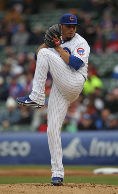 CHICAGO, IL - APRIL 20: Starting pitcher Matt Garza #17 of the Chicago Cubs delivers the ball against the San Diego Padres at Wrigley Field on April 20, 2011 in Chicago, Illinois. The Cubs defeated the Padres 2-1 in 11 innings. (Photo by Jonathan Daniel/G