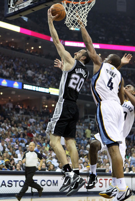 MEMPHIS, TN - APRIL 29:  Manu Ginobili #20 of the San Antonio Spurs shoots the ball while defended by Sam Young #4 of the Memphis Grizzlies in Game Six of the Western Conference Quarterfinals in the 2011 NBA Playoffs at FedExForum on April 29, 2011 in Mem