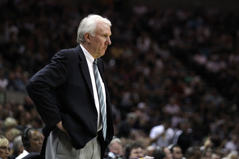 SAN ANTONIO, TX - APRIL 27:  Head coach Gregg Popovich of the San Antionio Spurs looks on against the Memphis Grizzlies in Game Five of the Western Conference Quarterfinals in the 2011 NBA Playoffs on April 27, 2011 at AT&T Center in San Antonio, Texas. N