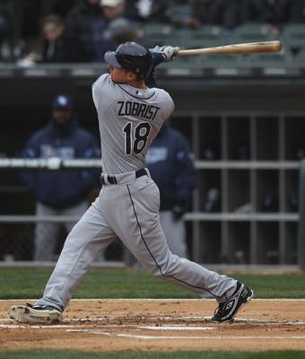 CHICAGO, IL - APRIL 07: Ben Zobrist #18 of the Tampa Bay Rays takes a swing against the Chicago White Sox during the home opener at U.S. Cellular Field on April 7, 2011 in Chicago, Illinois. The White Sox defeated the Rays 5-1. (Photo by Jonathan Daniel/G