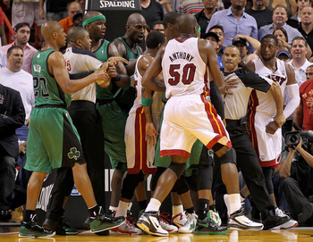 MIAMI, FL - APRIL 10:  Members of the Miami Heat scuffle with players from the Boston Celtics during a game at American Airlines Arena on April 10, 2011 in Miami, Florida. NOTE TO USER: User expressly acknowledges and agrees that, by downloading and/or us