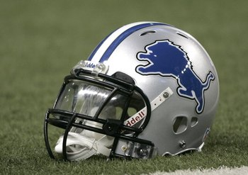 DETROIT, MI - AUGUST 9:  A Detroit Lions helmet is on the field during the game between the  Cincinnati Bengals against the Detroit Lions at Ford Field on August 9, 2007 in Detroit, Michigan. The Lions defeated the Bengals 27-26.  (Photo by Scott Boehm/Ge