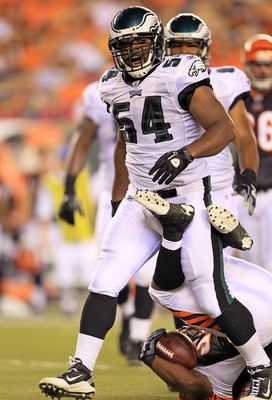CINCINNATI - AUGUST 20:  Brandon Graham #54 of the Philadelphia Eagles celebrates after making a tackle during the NFL preseason game against the Cincinnati Bengals at Paul Brown Stadium on August 20, 2010 in Cincinnati, Ohio.  (Photo by Andy Lyons/Getty