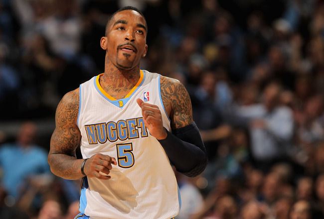 DENVER, CO - APRIL 23:  J.R. Smith #5 of the Denver Nuggets celebrates a three point shot against the Oklahoma City Thunder in Game Three of the Western Conference Quarterfinals in the 2011 NBA Playoffs on April 23, 2011 at the Pepsi Center in Denver, Col