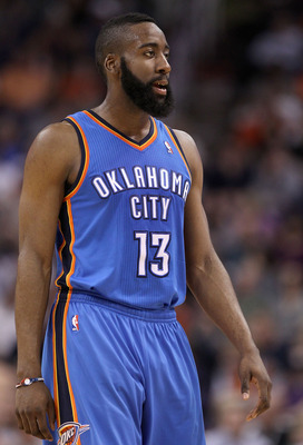 PHOENIX, AZ - MARCH 30:  James Harden #13 of the Oklahoma City Thunder during the NBA game against the Phoenix Suns at US Airways Center on March 30, 2011 in Phoenix, Arizona. The Thunder defeated the Suns 116-98.   NOTE TO USER: User expressly acknowledg