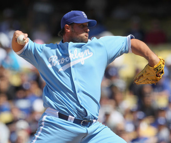 LOS ANGELES, CA - APRIL 21:  Jonathan Broxton #51 of the Los Angeles Dodgers pitches against the Atlanta Braves at Dodger Stadium on April 21, 2011 in Los Angeles, California.  (Photo by Jeff Gross/Getty Images)