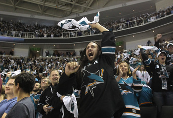 SAN JOSE, CA - MAY 01:  A San Jose Sharks fan celebrates after the Sharks went up 2-0 over the Detroit Red Wings  in Game Two of the Western Conference Semifinals during the 2011 NHL Stanley Cup Playoffs at HP Pavilion on May 1, 2011 in San Jose, Californ
