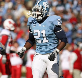 CHAPEL HILL, NC - NOVEMBER 22:  Da'Norris Searcy #21 of the North Carolina Tar Heels runs on the field during the game the North Carolina State Wolfpack at Kenan Stadium on November 22, 2008 in Chapel Hill, North Carolina. (Photo by Streeter Lecka/Getty I