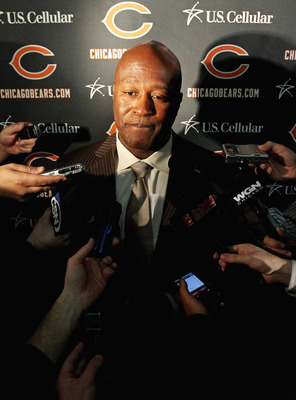 LAKE FOREST, IL - APRIL 26: Head coach Lovie Smith of the Chicago Bears speaks to media during the 2010 Brian Piccolo Award ceremony at Halas Hall on April 26, 2011 in Lake Forest, Illinois. TPlayers participated in the ceremony one day after a federal ju