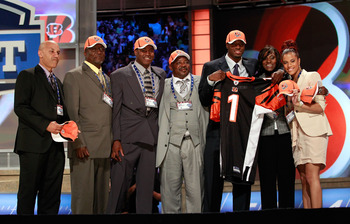 NEW YORK, NY - APRIL 28:  A.J. Green, #4 overall pick by the Cincinnati Bengals, poses for a photo on stage with family members during the 2011 NFL Draft at Radio City Music Hall on April 28, 2011 in New York City.  (Photo by Chris Trotman/Getty Images)