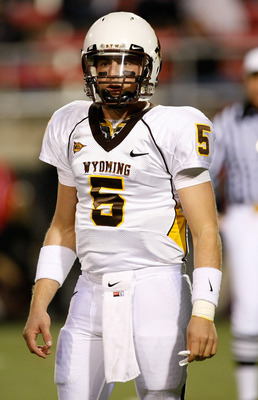 LAS VEGAS - NOVEMBER 13:  Quarterback Austyn Carta-Samuels #5 of the Wyoming Cowboys looks to his sideline during a game against the UNLV Rebels at Sam Boyd Stadium November 13, 2010 in Las Vegas, Nevada. UNLV won 42-16.  (Photo by Ethan Miller/Getty Imag