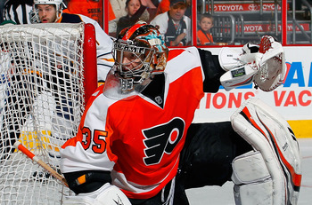 PHILADELPHIA, PA - APRIL 16:  Goalie Sergei Bobrovsky #35 of the Philadelphia Flyers watches the play in Game Two of the Eastern Conference Quarterfinals against the Buffalo Sabres during the 2011 NHL Stanley Cup Playoffs at Wells Fargo Center on April 16