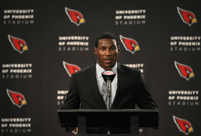 TEMPE, AZ - APRIL 29:  First round draft pick Patrick Peterson of the Arizona Cardinals speaks during a press conference to introduce him at the team's training center auditorium on April 29, 2011 in Tempe, Arizona.  (Photo by Christian Petersen/Getty Ima