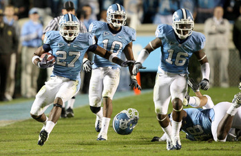 CHAPEL HILL, NC - NOVEMBER 07:  Deunta Williams #27 of the North Carolina Tar Heels runs with the ball after an interception against the Duke Blue Devils during their game at Kenan Stadium on November 7, 2009 in Chapel Hill, North Carolina.  (Photo by Str