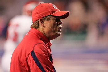 BOISE, ID - NOVEMBER 28: Head Coach Pat Hill of the Fresno State Bulldogs looks on during their game against the Boise State Broncos on November 28, 2008 at Bronco Stadium in Boise, Idaho.  (Photo by Otto Kitsinger III/Getty Images)