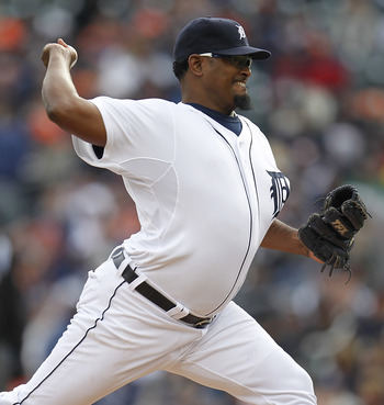 DETROIT, MI - APRIL 08:  Jose Valverde #46 of the Detroit Tigers throws a pitch while playing the Kansas City Royals at Comerica Park on April 8, 2011 in Detroit, Michigan.  (Photo by Gregory Shamus/Getty Images)