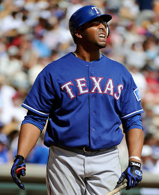 GLENDALE, AZ - MARCH 15:  Nelson Cruz #17 of the Texas Rangers plays against the Los Angeles Dodgers during the spring training baseball game at Camelback Ranch on March 15, 2011 in Glendale, Arizona.  (Photo by Kevork Djansezian/Getty Images)