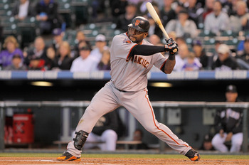 DENVER, CO - APRIL 19:  Pablo Sandoval #48 of the San Francisco Giants takes an at bat against the Colorado Rockies at Coors Field on April 19, 2011 in Denver, Colorado.  (Photo by Doug Pensinger/Getty Images)