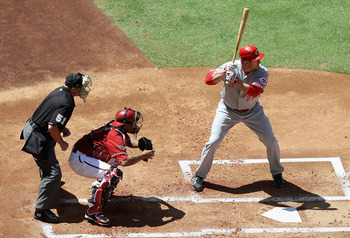 PHOENIX, AZ - APRIL 10:  Scott Rolen #27 of the Cincinnati Reds bats against the Arizona Diamondbacks during the Major League Baseball game at Chase Field on April 10, 2011 in Phoenix, Arizona.  The Diamondbacks defeated the Reds 10-8.  (Photo by Christia