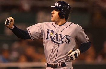 OAKLAND, CA - AUGUST 19:  Evan Longoria #3 of the Tampa Bay Rays celebrates after hitting a solo home run against the Oakland Athletics in the sixth inning during an MLB game at the Oakland-Alameda County Coliseum on August 19, 2010 in Oakland, California