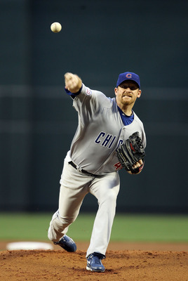 PHOENIX, AZ - APRIL 28:  Starting pitcher Ryan Dempster #46 of the Chicago Cubs pitches against the Arizona Diamondbacks during the first inning of the Major League Baseball game at Chase Field on April 28, 2011 in Phoenix, Arizona.  (Photo by Christian P