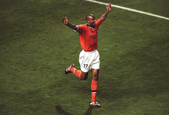 20 Jun 1998:  Pierre van Hooijdonk of Holland celebrates after scoring in the World Cup group E game against South Korea at the Stade Velodrome in Marseille, France. Holland won 5-0. \ Mandatory Credit: Laurence Griffiths /Allsport