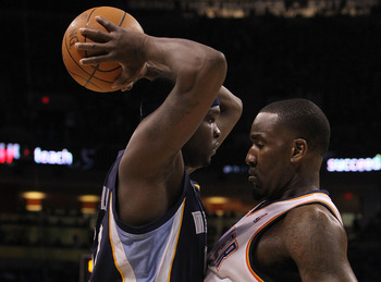 OKLAHOMA CITY, OK - MAY 01:  (L-R) Zach Randolph #50 of the Memphis Grizzlies is fouled by Kendrick Perkins #5 of the Oklahoma City Thunder in Game One of the Western Conference Semifinals in the 2011 NBA Playoffs on May 1, 2011 at Oklahoma City Arena in