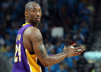NEW ORLEANS, LA - APRIL 28:  Kobe Bryant #24 of the Los Angeles Lakers reacts during play against the New Orleans Hornets in Game Six of the Western Conference Quarterfinals in the 2011 NBA Playoffs on April 28, 2011 at New Orleans Arena in New Orleans, L