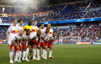 HARRISON, NJ - APRIL 30:  The New York Red Bulls pose for a team photo prior to their match against the Sporting KC on April 30, 2011 at Red Bull Arena in Harrison, New Jersey. The Red Bulls defeated the Sporting KC 1-0. (Photo by Mike Stobe/Getty Images