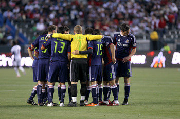CARSON, CA - APRIL 30:   The Chivas USA starting 11 huddle before the game with the New England Revolution at The Home Depot Center on April 30, 2011 in Carson, California.  Chivas USA won 3-0.   (Photo by Stephen Dunn/Getty Images)