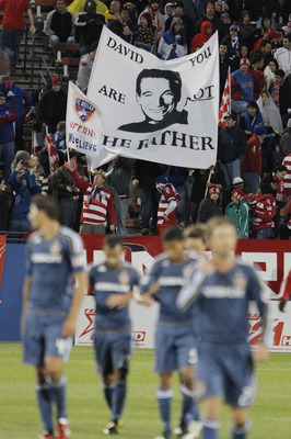 FRISCO, TX - MAY 1: FC Dallas fans taunt David Beckham #23 of the Los Angeles Galaxy after the first half of a soccer game at Pizza Hut Park on May 1, 2011 in Frisco, Texas. (Photo by Brandon Wade/Getty Images)