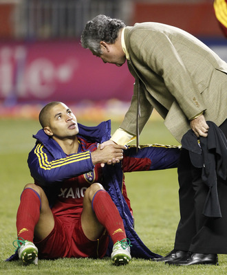 SANDY, UT - APRIL 27: Alvaro Saborio #15 of Real Salt Lake shakes the hand of head coach Victor Manuel Vucetich of Monterrey Mexico after they lost during the second half of the CONCACAF Championship game April 27, 2011 at Rio Tinto Stadium in Sandy, Utah