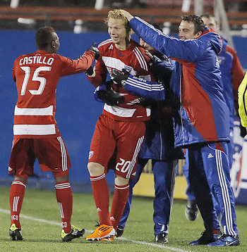 FRISCO, TX - MAY 1: Brek Shea #20 of FC Dallas is congratulated by teammates after scoring what would be the game winning goal against the Los Angeles Galaxy during the second half of a soccer game at Pizza Hut Park on May 1, 2011 in Frisco, Texas. FC Dal