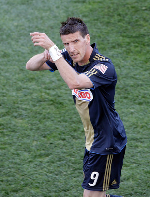 CHESTER, PA - APRIL 30:  Sebastien Le Toux #9 of the Philadelphia Union celebrates scoring a goal on a penalty kick during the second half against the San Jose Earthquakes at PPL Park on April 30, 2011 in Chester, Pennsylvania.  (Photo by Rob Carr/Getty I