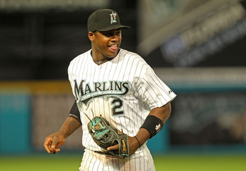 MIAMI GARDENS, FL - APRIL 21:  Hanley Ramirez #2 of the Florida Marlins laughs as he jogs off the field during a game against the Pittsburgh Pirates at Sun Life Stadium on April 21, 2011 in Miami Gardens, Florida.  (Photo by Mike Ehrmann/Getty Images)