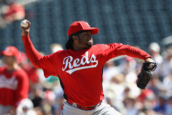 SURPRISE, AZ - MARCH 11:  Starting pitcher Johnny Cueto #47 of the Cincinnati Reds pitches against the Texas Rangers during the spring training game at Surprise Stadium on March 11, 2011 in Surprise, Arizona.  (Photo by Christian Petersen/Getty Images)