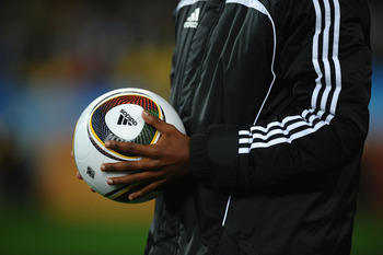 DURBAN, SOUTH AFRICA - JUNE 22:  The official Jabulani matchball ahead of the 2010 FIFA World Cup South Africa Group B match between Nigeria and South Korea at Durban Stadium on June 22, 2010 in Durban, South Africa.  (Photo by Laurence Griffiths/Getty Im
