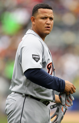 OAKLAND, CA - APRIL 17:  Miguel Cabrera #24 of the Detroit Tigers in action during their game against the Oakland Athletics at Oakland-Alameda County Coliseum on April 17, 2011 in Oakland, California.  (Photo by Ezra Shaw/Getty Images)