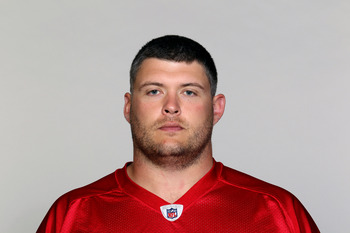 FLOWERY BRANCH, GA - CIRCA 2010: In this handout image provided by the NFL,  Tyson Clabo of the Atlanta Falcons poses for his NFL headshot circa 2010 at the Falcons Football Facility in Flowery Branch, Georgia.  (Photo by NFL via Getty Images)