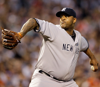 BALTIMORE, MD - APRIL 23:  Pitcher CC Sabathia #52 of the New York Yankees delivers to a Baltimore Orioles batter at Oriole Park at Camden Yards on April 23, 2011 in Baltimore, Maryland.  (Photo by Rob Carr/Getty Images)