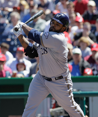 WASHINGTON, DC - APRIL 17: Prince Fielder #28 of the Milwaukee Brewers strikes out against the Washington Nationals at Nationals Park on April 17, 2011 in Washington, DC.  (Photo by Rob Carr/Getty Images)