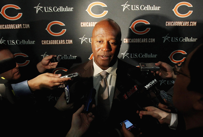 LAKE FOREST, IL - APRIL 26: Head coach Lovie Smith of the Chicago Bears speaks to media during the 2010 Brian Piccolo Award ceremony at Halas Hall on April 26, 2011 in Lake Forest, Illinois. Players participated in the ceremony one day after a federal jud
