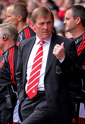 LIVERPOOL, ENGLAND - APRIL 23:  Liverpool Manager Kenny Dalglish gestures prior to the Barclays Premier League match between Liverpool and Birmingham City at Anfield on April 23, 2011 in Liverpool, England.  (Photo by Clive Brunskill/Getty Images)