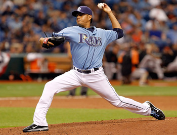 ST. PETERSBURG, FL - APRIL 03:  Pitcher Cesar Ramos #27 of the Tampa Bay Rays pitches against the Baltimore Orioles during the game at Tropicana Field on April 3, 2011 in St. Petersburg, Florida.  (Photo by J. Meric/Getty Images)