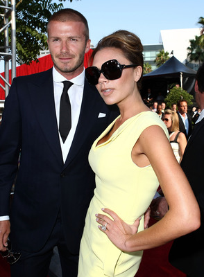 LOS ANGELES, CA - JULY 16:  Soccer player David Beckham and wife Victoria Beckham arrive at the 2008 ESPY Awards held at NOKIA Theatre L.A. LIVE on July 16, 2008 in Los Angeles, California.  The 2008 ESPYs will air on Sunday, July 20 at 9PM ET on ESPN.  (