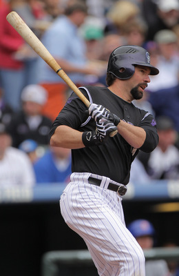 DENVER, CO - APRIL 17:  Todd Helton #17 of the Colorado Rockies takes an at bat against the Chicago Cubs at Coors Field on April 17, 2011 in Denver, Colorado.  (Photo by Doug Pensinger/Getty Images)