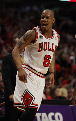 CHICAGO, IL - APRIL 26: Keith Bogans #6 of the Chicago Bulls talks to members of the Indiana Pacers sitting on the bench after hitting a three-point shot in Game Five of the Eastern Conference Quarterfinals in the 2011 NBA Playoffs at the United Center on