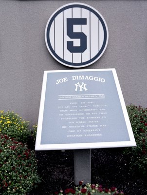 NEW YORK - SEPTEMBER 11: A general view of the Joe DiMaggio plaque in Monument Park at Yankee Stadium on September 11, 2008 in the Bronx borough of New York City. The 85 year old ball park will be closed after the 2008 season as the New York Yankees move