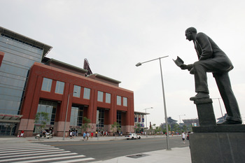 PHILADELPHIA - JULY 1:  A statue of Cornelius MacGillicuddy honors his memory and the memory of other outstanding Philadelphia Athletics. Cornelius MacGillicuddy, better known as Connie Mack (1862-1956), was the longtime owner and manager of the Philadelp